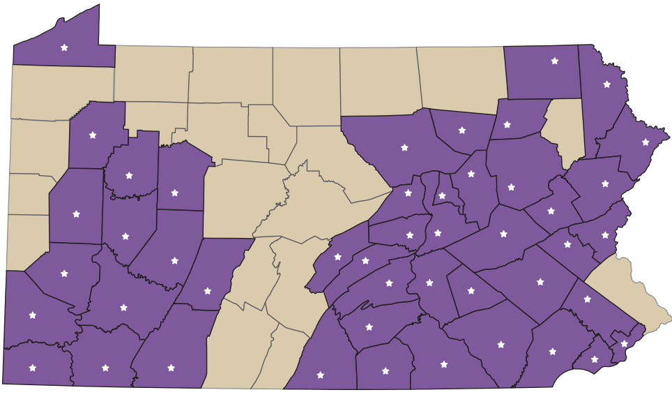 map showing locations for child services in pennsylvania